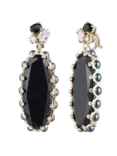 Carolee Women's Large Stone Drop Earring, Gold/Black