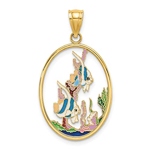 14k Yellow Gold Enamel Angelfish In Underwater Scene Pendant Charm Necklace Animal Sea Life Fish Angel Fine Jewelry Gifts For Women For Her