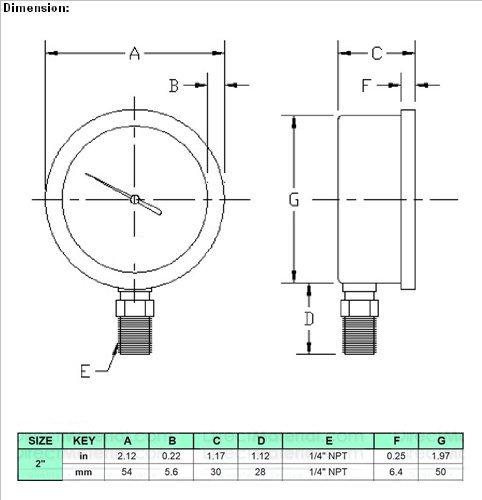 2 Oil Filled Vacuum Pressure Gauge HFS R SS//Br 1//4 NPT Lower Mount -30HG//0