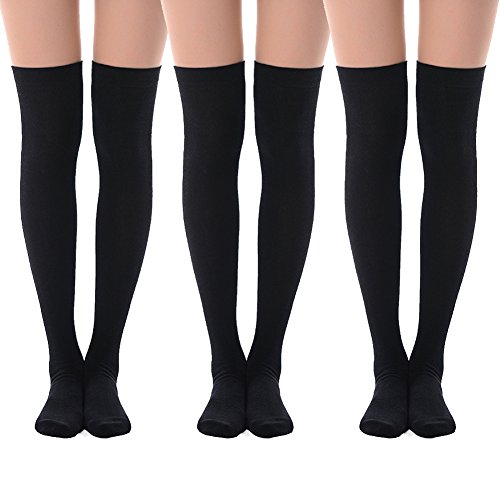 MEIKAN Knee High Trouser Socks, Thigh High Combed Cotton Women Long Casual Socks 3 Pairs (Black)