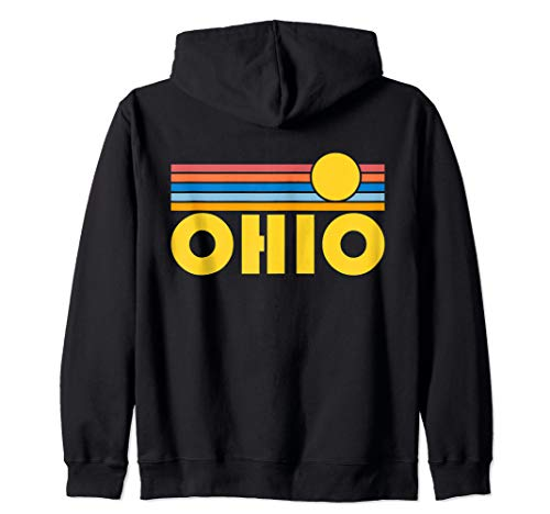 Ohio Retro Sunset - Ohio Zip Hoodie (Clairsville Ohio Zip St)