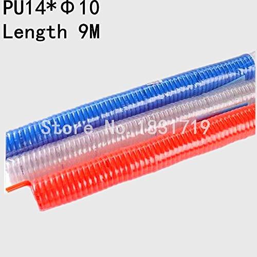 Fevas PU1410 Spring Tube tubing O.D 14 X tubing O.D 10 Spiral air Hose PU14X10 Telescopic PU1410 Length 9M - (Color: Blue)