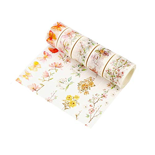 (Washi Tape Set Floral Collection Masking Tape Pack for Christmas DIY Scrapbooking, Crafts, Gift Wrapping 5 Rolls (25mm/30mm/35mmWide, Each Roll 8 Meters Long))