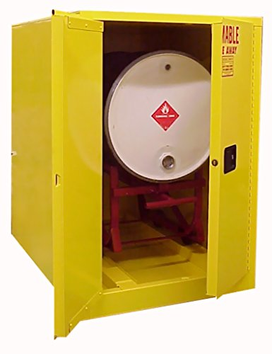 SECURALL H160 Flammable Drum Storage Cabinet - Horizontal, 60 Gallon Cap, 18-Gauge Steel, 50 x 34 x 50 in, 2 Door, FM Approved, OSHA/NFPA Comp. 15 YR Warranty - Yellow