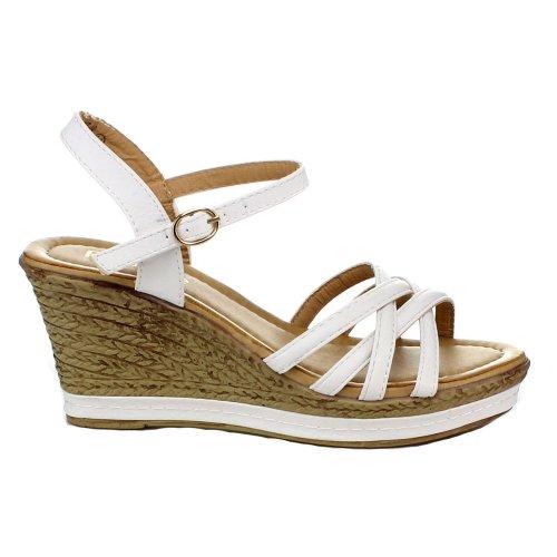 Bellamarie Nxt-10 Kvinnor Bekväma Fotled Strappy Espadrille Kil Plattform Sandal Vit