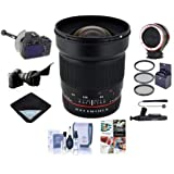 Rokinon 24mm f/1.4 ED AS UMC WA Manual Focus Lens Canon - Bundle FocusShifter DSLR Follow Focus, Peak Lens Changing Kit Adapter, 77mm Filter K0, Flex Lens Shade, Software Pack More