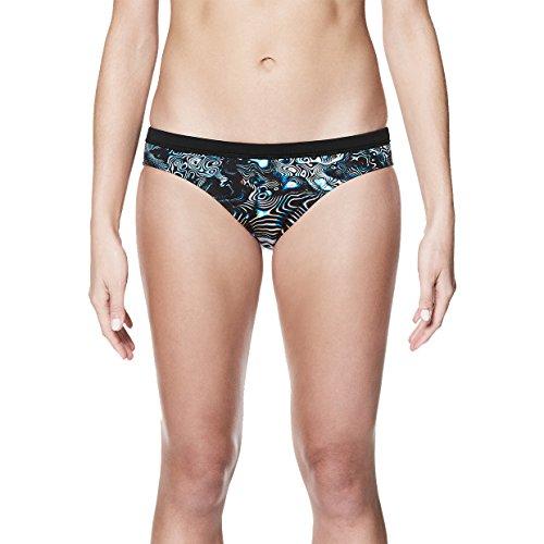 NIKE NESS8123 Women's Geo Aftershock Sport Bikini Bottom, Black - Small