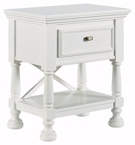 Ashley Furniture Signature Design - Kaslyn Nightstand - 1 Drawer - Casual - White - KIDS WHITE NIGHTSTAND: Brighten up their bedroom with a little dose of country cottage style. This nightstand is feminine in crisp white, accented with refined details ELEGANT CRAFTSMANSHIP: Kids night stand with turned bun feet is made of veneers, hardwood solids and engineered wood. Drawer is made with dovetail construction and is lined with a felt bottom LIGHT AND BRIGHT: This nightstand table is so easy to match with other pieces of bedroom furniture and will brighten up any space with its crisp white finish. Aged nickel-tone drawer handles and half-round pilasters amp up the charm - nightstands, bedroom-furniture, bedroom - 419BwAN9XRL -
