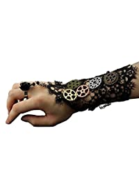Womens Girls Steampunk Gears Lace Cuff Fingerless Gloves Black