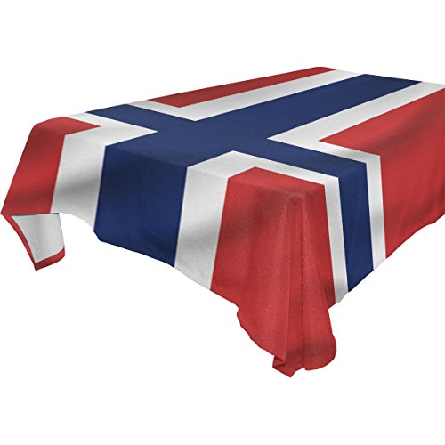Norway Flag Polyester Tablecloth Table Cover for Dinner Party Picnic Kitchen Home Decor, Multi