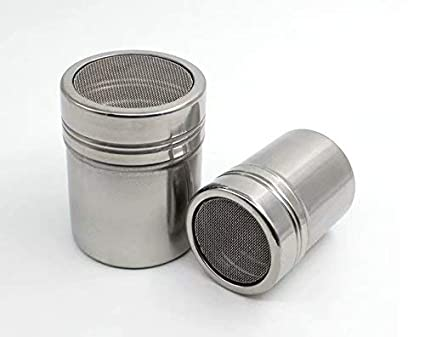 Stainless Chocolate Shaker Duster Stainless Steel Dredger Powder Icing Sugar Salt Cocoa Flour Spice Coffee Fine-Mesh Sifter for Kitchen Cooking Sliver Baking