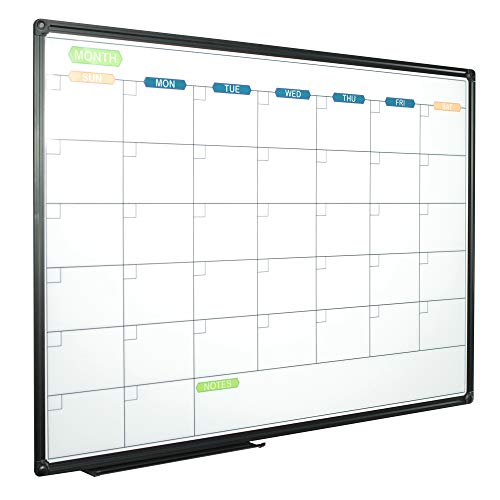 JILoffice Dry Erase Calendar Whiteboard - Magnetic White Board Calendar Monthly 36 X 24 Inch, Black Aluminium Frame Wall Mounted Board for Office Home and School