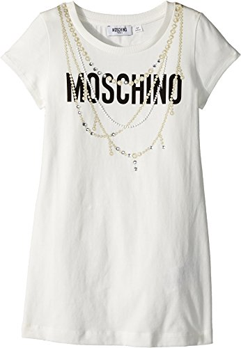 Moschino Kids Girl's Short Sleeve Logo Dress w/Pearl Necklace Design (Big Kids) Cloud 14 by Moschino Kids