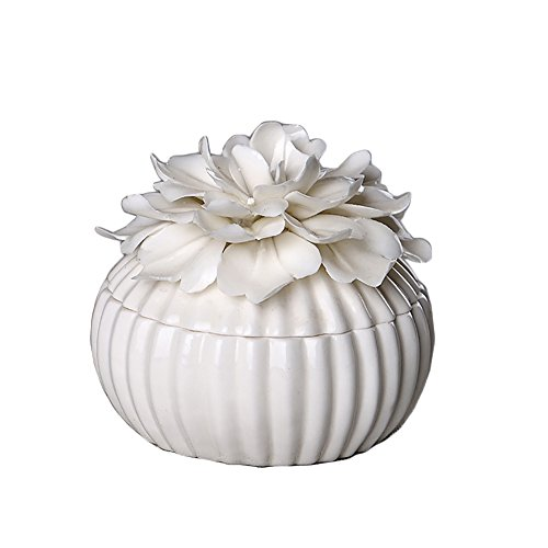 (ALYCASO Handmade White Ceramic Retro Jewelry Box for Woman Wedding Gift Storage Decor Flower Peony Lotus)