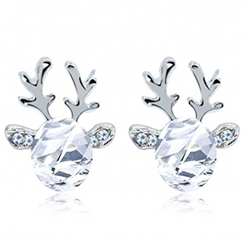 (Elevin(TM) 2016 Christmas Earrings Gift Luxury Three-dimensional Christmas Reindeer Antlers Crystal Gemstone Earrings Gift (White))