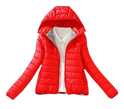 Delle Colore Di Puro Rosso Rkbaoye Donne Cappotto Cappuccio Cerniera Lana Con Caldo Corto gFwPZPq6