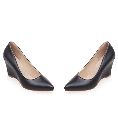 d652cffa95965d YE Damen Keilabsatz Pumps Spitze High Heels Geschlossen mit 8cm Absatz  Elegant Schuhe Schwarz ...