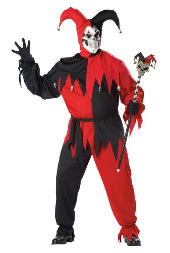 California Costumes Women's Evil Jester Costume,Black/Red,P (48-52)
