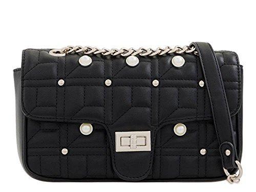 lanière DIVA détail Femmes main 's Small Sac cuir à haute bandoulière Noir sérénité chaîne matelassé pour synthétique Clous neuf 518nwzPq