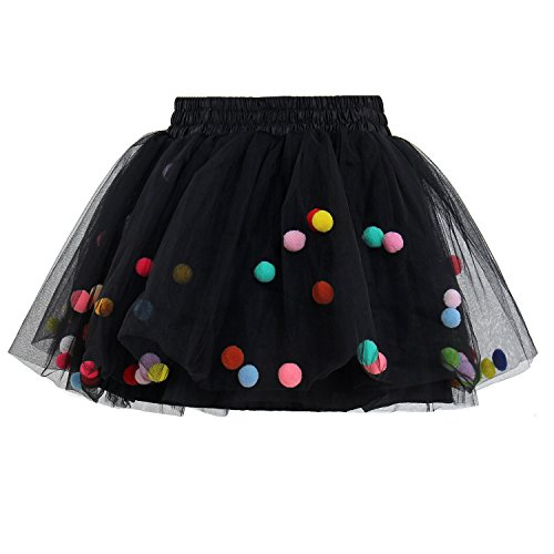 GoFriend Tutu Skirt Baby Girls Tulle Princess Dress 4-Layer Fluffy Ballet Skirt With Pom Pom Puff Ball (XL, Black) from GoFriend