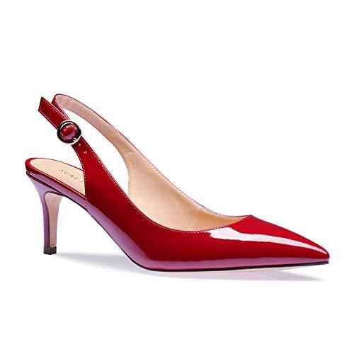SUNETEDANCE Women's Slingback Pumps Pointed Toe Kitten Heels Sandals Slip On Stiletto Mid Heels Shoes, Patent Leather Wine, US7 B(M) US