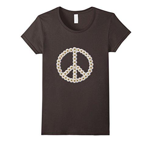 Womens Daisy Peace Sign T-Shirt Hippie Love Boho Flower Child Medium Asphalt Ladies Daisy