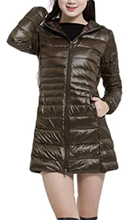 Macondoo Womens Plus Size Packable Puffer Hooded Light Weight Down Coat Army Green XXS