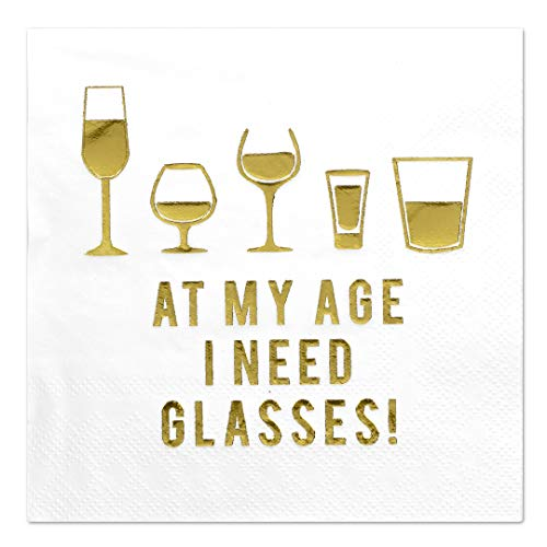 Andaz Press I Need Glasses, Funny Quotes Cocktail Napkins, Gold Foil, Bulk 50-Pack Count 3-Ply Disposable Fun Beverage Napkins for 40th 45th 50th 55th 60th 65th 70th 75th Birthday Decorations