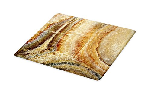 (Lunarable Marble Cutting Board, Onyx Stone Surface Pattern Banded Variety Layered Differing Lines Image, Decorative Tempered Glass Cutting and Serving Board, Small Size, Sand Brown Cinnamon )