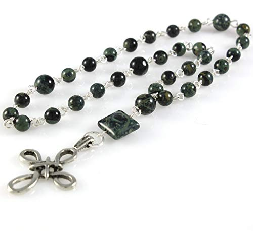 Anglican Prayer Beads, Protestant Rosary, Swirl Cross with Real Silver Plating and Genuine Kambaba Jasper