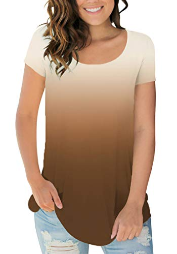 (Sousuoty Workout Clothes for Women Scoop Neck Tee Shirts Casual Tops Ombre Khaki S)