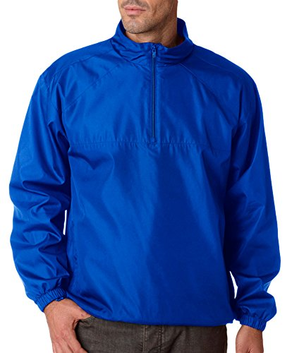 Ultraclub Adult Micro-Poly 1/4-Zip Windshirt, Royal, Large