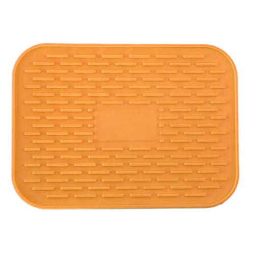 Juner Silicone Heat Insulation Placemat Platet,Table Mat Heat Insulation Washable Durable For Kitchen Dining Room Multi Colors 21.5 x 15.5 cm (Orange)