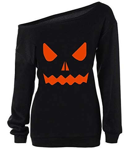 GSVIBK Womens Halloween Sweatshirts Halloween Pumpkin Face Long Sleeve Sweatshirts Off Shoulder Halloween Shirts 225 Black 2XL ()