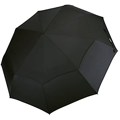 G4Free Compact Windproof Travel Umbrellas 48 Inch Folding Double Canopy Vented with Auto Open Close for Men Women Golf Black - Sturdy, Portable, Larger Than Normal