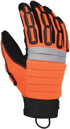 1-Pair MCR Safety 945L High Vis Orange Mining Gloves with Reinforced Palm Patches Black Large