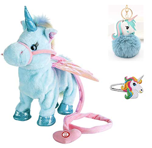 Naughtypet Walking Unicorn Pet Stuffed Electric Plush Toy Soft with Singing Song Talking Kids Baby Bboy Girl Xmas Birthday Gift Doll Accessory 18 Inches (Baby Blue) - Electric Animal Toy