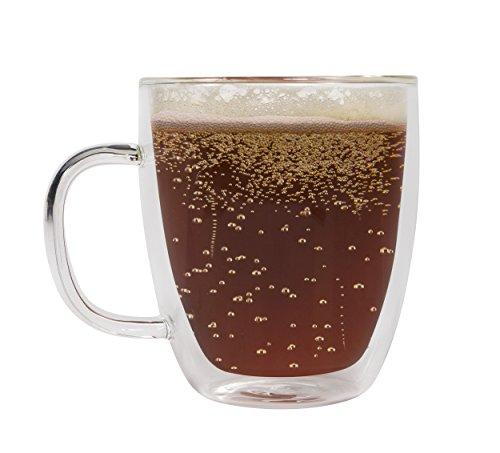 Sage Double Wall Large Glass Mug - Insulated Coffee Cup - Dishwasher Safe, 16 oz. (1) (Mug Soup Ceramic)