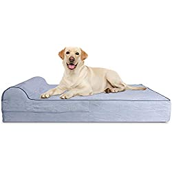 7-inch Thick High Grade Orthopedic Memory Foam Dog Bed With Pillow and Easy to Wash Removable Cover with Anti-Slip Bottom. Free Waterproof Liner Included - JUMBO XL for Large Dogs - Grey
