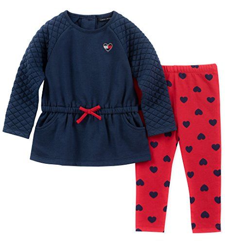 Tommy Hilfiger Baby Girls 2 Pieces Tunic Pants Set, Navy/red Print, 24M