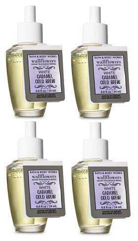 Bath and Body Works 4 Pack White Caramel Cold Brew Wallflowers Fragrance Refill. 0.8 fl oz.