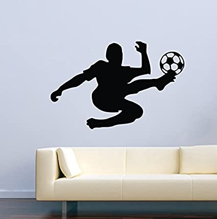 Amazon.com: Sport Wall Decals for Kids Rooms Soccer Player Vinyl ...