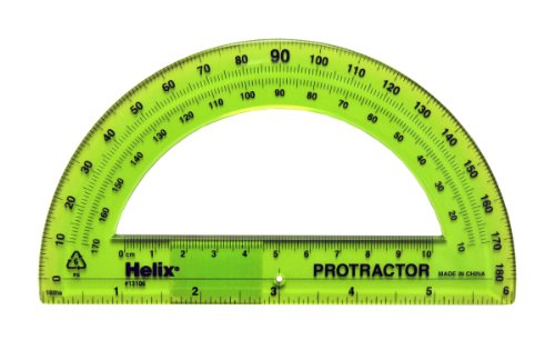 Helix 180° Standard Protractor, 6 inch/15cm, Clear (13106) Deal (Large Image)