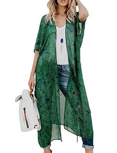 Women's Open Front Bathing Suit Cover Ups Sheer Chiffon Floral Printed Kimono Cardigan (Green, Large)