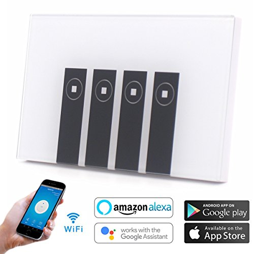 Atoparts Smart WiFi Light Switch Compatible with Alexa Echo Google Home, Touch Wall Switch Panel ,Timing Function, Remote Control Your Devices with Smart Phone from Anywhere (4 Gang)