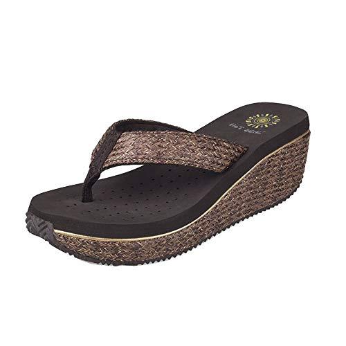 Brown Con Señoras Antideslizante Zapatos Negro Flops Playa Wedge Vistiendo De Flip Zapatillas RpPTpgq
