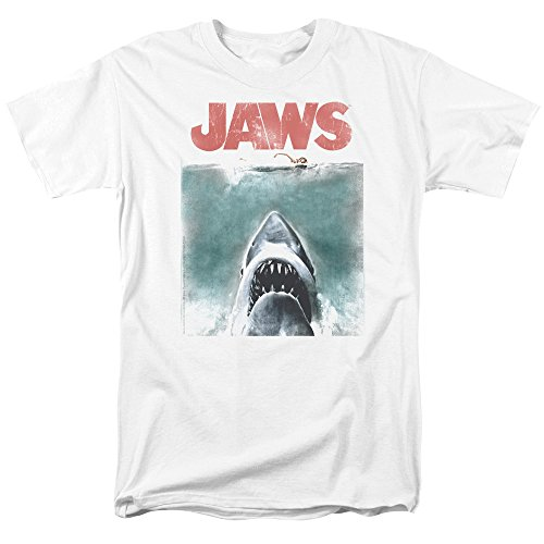 Jaws 1975 Shark Thriller Spielberg Movie Distressed Color Poster Adult T-Shirt