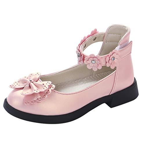 Tantisy ♣↭♣ Toddler/Little Kids Camila Princess Uniform School Ballet Flower Mary Jane Girls Flats Dress Shoes Pink ()