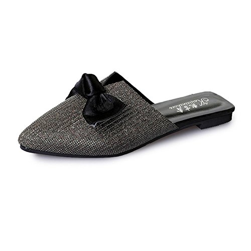 Women's Fashion Pointed Head Bowknot Mules Flats Closed Toe Slip On Sandals Lazy Shoes Slippers by Btrada