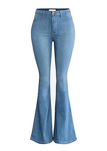 Skirt BL Women's Juniors Bell Bottom High Waist Fitted Stretchy Denim Flare Jeans Blue - Vintage Bell Bottom Pants